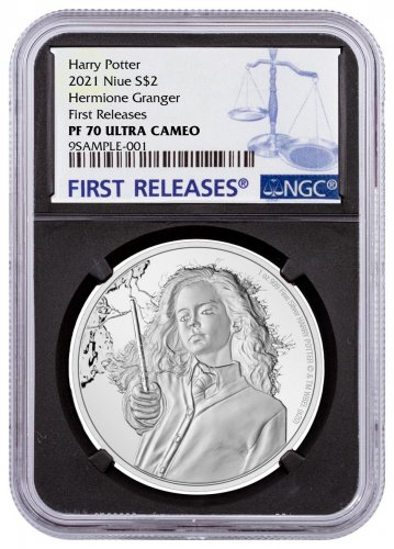 2021 Niue Harry Potter - Hermione Granger 1 oz Silver Proof $2 Coin NGC PF70 UC FR Black Core Holder