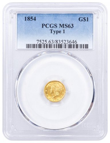 1854 Liberty Head Type 1 $1 Gold Coin Type I PCGS MS63