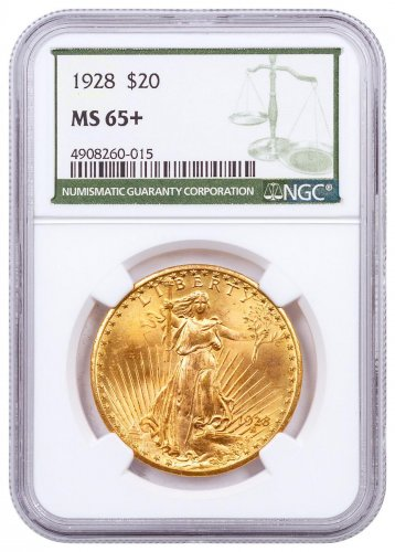 1928 Saint-Gaudens $20 Gold Double Eagle NGC MS65+ Green Label