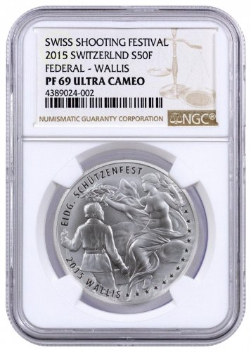 2015 Switzerland Shooting Festival Thaler - Wallis Silver Proof Fr.50 NGC PF69 UC