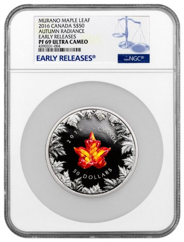 2016 Canada Murano Glass Maple Leaf - Autumn Radiance 5 oz Silver Proof $50 NGC PF69 UC ER