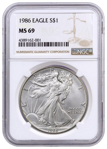 1986 American Silver Eagle NGC MS69
