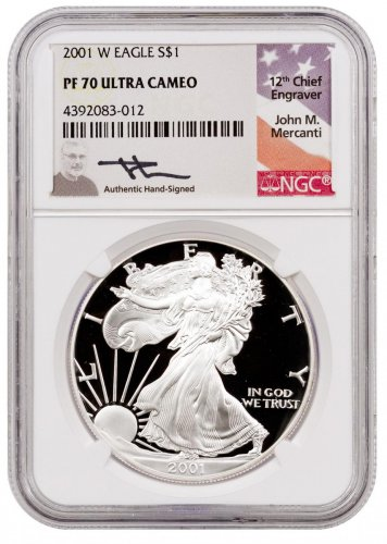 2001 W Proof American Silver Eagle Ngc Pf70 Uc Mercanti