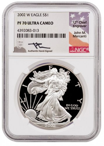 2002-W Proof American Silver Eagle NGC PF70 UC (Mercanti Signed Flag Label)