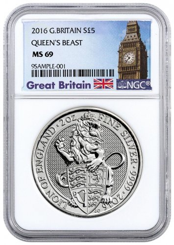 2016 Great Britain 2 oz Silver Queen's Beasts - Lion of England £5 NGC MS69 (Great Britain Label)