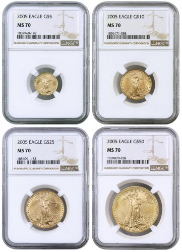 2005 Gold American Eagle 4-Coin Set NGC MS70 - ModernCoinMart