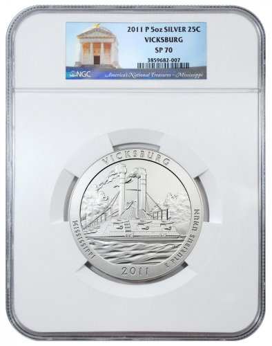 2011-P Vicksburg 5 oz. Silver America the Beautiful Specimen Coin NGC SP70