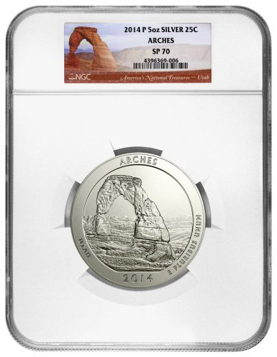 2014-P Arches 5 oz. Silver America the Beautiful Specimen Coin NGC SP70