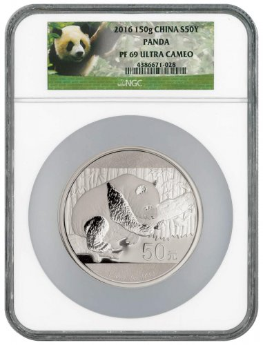 2016 China 150 g Silver Panda Proof ¥50 Coin NGC PF69 UC (Exclusive Panda Label)