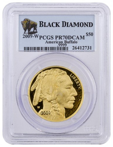 2009-W 1 oz Gold Buffalo Proof $50 PCGS PR70 DCAM (Black Diamond Label)
