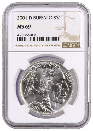 2001-D American Buffalo Commemorative Silver Dollar NGC MS69