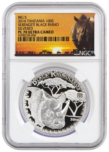 2016 Tanzania Big 5 - Serengeti Black Rhino Copper-Nickel Prooflike SH100 Coin NGC PL70