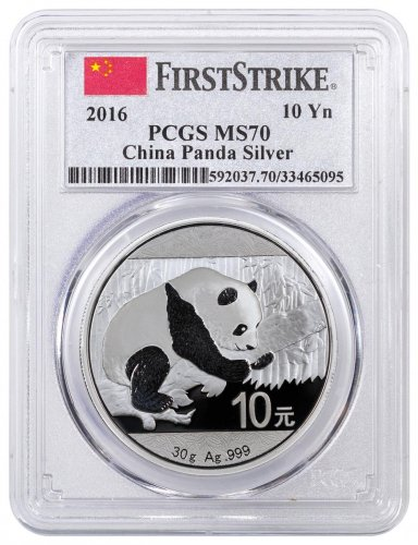 2016 China 30 g Silver Panda ¥10 Coin PCGS MS70 FS