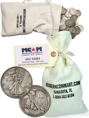 $100 Face Value Bag - 200 Coins - 1916-1947 Silver Walking Liberty Half Dollar Avg Circ