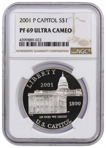 2001-P U.S. Capitol Visitor Center Commemorative Silver Dollar Proof NGC PF69 UC