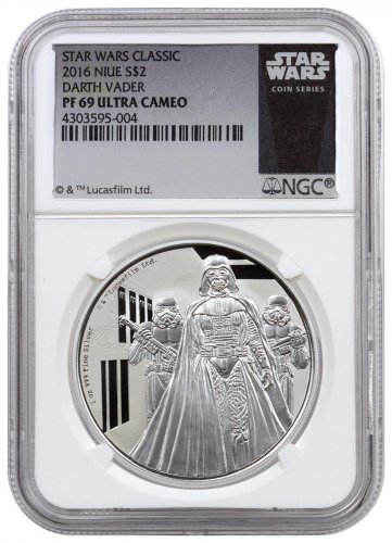 2016 Niue Star Wars Classic - Darth Vader 1 oz Silver Proof $2 NGC PF69 UC (Exclusive Star Wars Label)