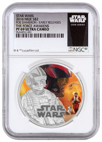2016 Niue Star Wars: The Force Awakens - Poe 1 oz Silver Colorized Proof $2 NGC PF69 UC ER (Exclusive Star Wars Label)