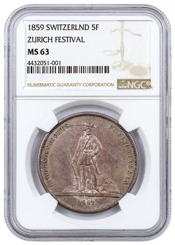 1859 Switzerland Shooting Festival Thaler - Zurich Silver Fr.5 NGC MS63
