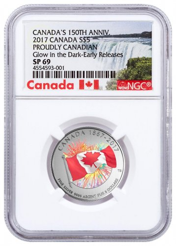 2017 Canada Celebrating Canada's 150th - Proudly Canadian 1/4 oz Silver Colorized Glow in the Dark Specimen $5 Coin NGC SP69 ER (Exclusive Canada Label)