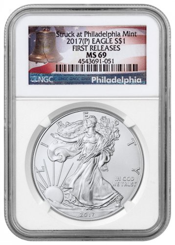 2017-(P) Silver Eagle Struck at Philadelphia NGC MS69 FR Liberty Bell Label