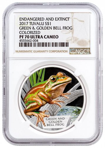 2017 Tuvalu Endangered and Extinct - Green and Golden Bell Frog 1 oz Silver Proof $1 Coin NGC PF70 UC