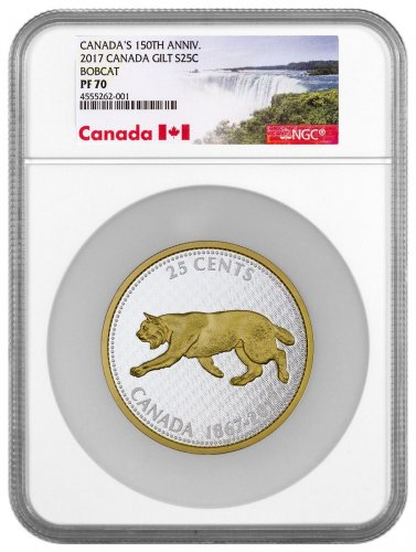 2017 Canada Big Coin Series - Alex Colville Designs - Bobcat 5 oz Silver Gilt Proof 25c Coin NGC PF70 Exclusive Canada Label