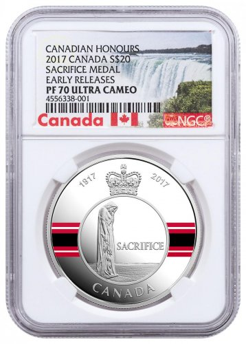 2017 Canada Canadian Honors - Sacrifice Medal 1 oz Silver Colorized Proof $20 Coin NGC PF70 UC ER Exclusive Canada Label