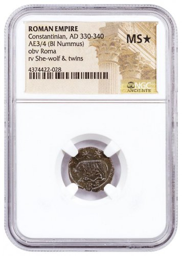 Roman Empire, Billon Nummus of Constantine I (AD 330-340) - obv. Roma/rv. She-Wolf, Remus & Romulus NGC MS* (Story Vault)