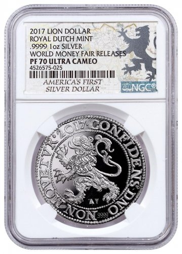 2017 Netherlands Restrike Silver 1 New York Lion Dollar Scarce and Unique Coin Division NGC PF70 UC Money Fair Releases World Money Fair Lion Dollar Label