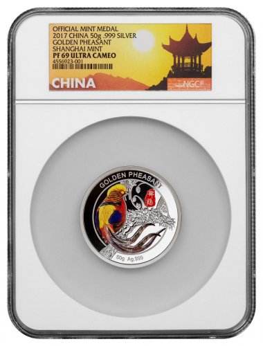 2017 China Golden Pheasant - 50 g Silver Colorized Proof NGC PF69 UC Exclusive Great Wall Label