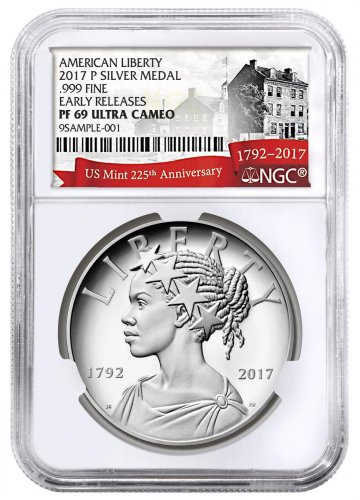 2017-P United States American Liberty 225th Anniversary 1 oz Silver Proof Medal NGC PF69 UC ER Exclusive U.S. Mint 225th Anniversary Label