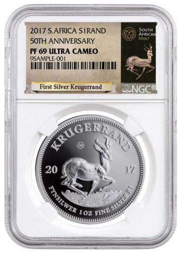 2017 South Africa 1 oz Silver Krugerrand Proof Coin NGC PF69 UC Exclusive Krugerrand Label