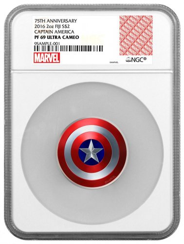 2016 Fiji Marvel Captain America Shield - 75th Anniversary Domed 2 oz Silver Colorized Proof $2 Coin NGC PF69 UC Exclusive Marvel Label