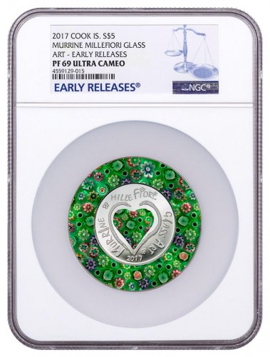 2017 Cook Islands Murrine Millefiori Glass Art - 20 g Silver Proof $5 Coin NGC PF69 UC ER