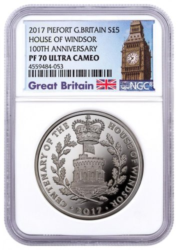 2017 Great Britain House of Windsor Centenary - Piedfort Silver Proof Coin NGC PF70 UC Exclusive Big Ben Label