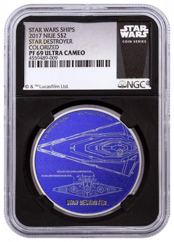 2017 Niue Star Wars Ships - Star Destroyer 1 oz Silver Colorized Proof $2 Coin NGC PF69 UC Black Core Holder Exclusive Star Wars Label