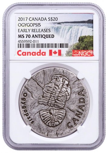 2017 Canada Ancient Canada - Ogygopsis 1 oz Silver Antiqued $20 Coin NGC MS70 ER Exclusive Canada Label