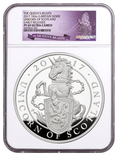 2017 Great Britain 1 Kilo Silver Queen's Beasts - Unicorn of Scotland Proof £500 Coin NGC PF69 UC ER Exclusive Queen's Beasts Label