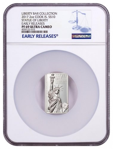 2017 Cook Islands Liberty Bar - Statue of Liberty High Relief Rectangle Silver Proof $10 Coin NGC PF69 UC ER