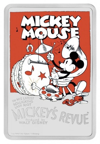 2017 Niue Disney Posters of the 1930s - Mickey's Revue 1 oz Silver Colorized Proof $2 Coin GEM Proof in its Original Government Packaging