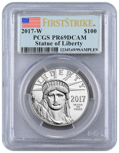 2017-W 1 oz Platinum American Eagle Proof $100 PCGS PR69 DCAM FS Flag Label