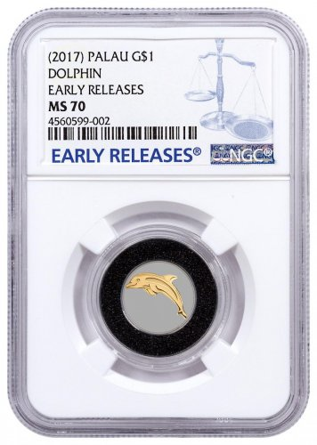 (2017) Palau Golden Dolphin 1/2 g Gold $1 Coin NGC MS70 ER