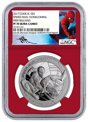 2017 Cook Islands Marvel Spider-Man: Homecoming 1 oz Silver Proof $5 Coin NGC PF70 UC FR Red Core Holder Exclusive Spider-Man Label