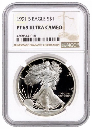 1991-S Proof American Silver Eagle NGC PF69 UC