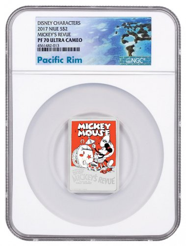 2017 Niue Disney Posters of the 1930s - Mickey's Revue Rectangle 1 oz Silver Colorized Proof $2 Coin NGC PF70 UC Exclusive Pacific Rim Label