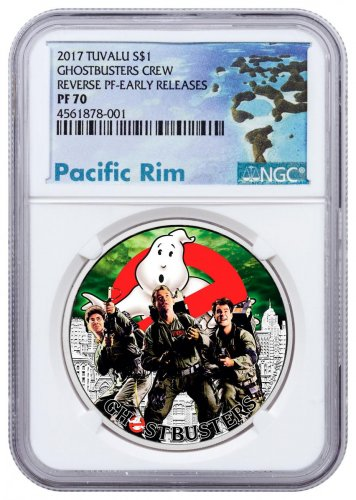 2017 Tuvalu Ghostbusters - Crew 1 oz Silver Colorized Reverse Proof $1 Coin NGC PF70 ER Exclusive Pacific Rim Label