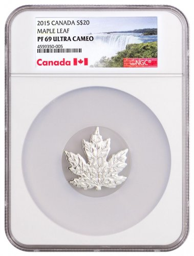 2015 Canada Maple Leaf Shaped 1 oz Silver Proof $20 NGC PF69 UC Exclusive Canada Label