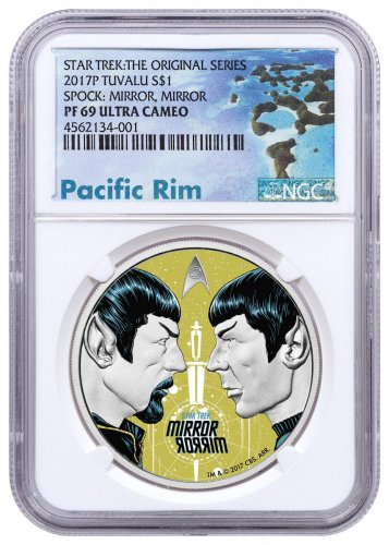 2017 Tuvalu Star Trek - Spock Mirror, Mirror 1 oz Silver Colorized Proof $1 Coin NGC PF69 UC Exclusive Pacific Rim Label