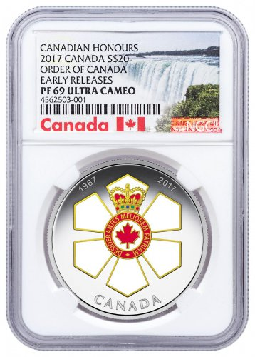 2017 Canada Canadian Honors - Order of Canada 1 oz Silver Colorized Proof $20 Coin NGC PF69 UC ER Exclusive Canada Label
