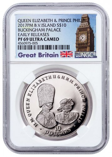 2017 British Virgin Islands 70 Years of Queen Elizabeth II & Prince Phillip - Buckingham Palace 1 oz Silver Proof $10 Coin NGC PF69 UC ER Exclusive Big Ben Label